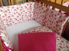 Cushi cots girls swing crib bumper and duvet set vintage rose and cerise pink