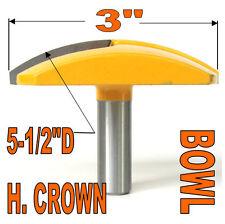"1 pc 1/2"" SH 3"" Diameter Horizontal Crown Bowl Molding Round Router Bit S"