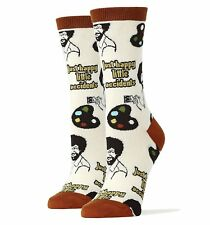 JyinStyle Womens Cotton Crew Socks Bob Ross Happy Lil Accidents Sz Lrg Oooh Yeah