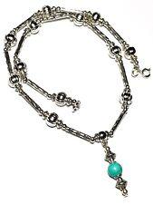 "14"" Silver Turquoise Choker Necklace Howlite Bead Pendant Tibetan Vintage Style"