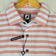 NWT FOOTJOY Size Large Mens Golf Polo Shirt Blue Red Striped Athletic Fit New