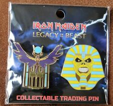 More details for iron maiden legacy of the beast goddess aset & pharaoh metal pin badge set - new