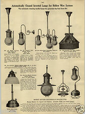 1914 PAPER AD Nulite Table Lamp Art Glass Dome Arcolight System Yale Lighting