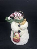 "Deb Strain Raz Imports Snowman Christmas Tree Ornament 4.5"" Resin Puppies Cute"
