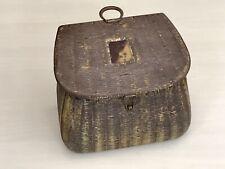 Rare Huntley & Palmers Biscuit Tin Fishing Creel Fisherman Wicker Basket c1900