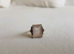 Vintage Emerald Cut Rose Quartz Garnet Sterling Silver Ring