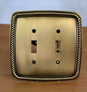Copper Tone Metal Beveled Rope Edge Double Light Switch Plate Decorative Cover