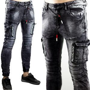 Pantaloni Uomo Cargo Tasconi Elasticizzati Jeans Slim Fit Skinny Aderenti Nero