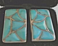 Vintage ZUNI Channel Inlay Inlaid Fish Scale TURQUOISE Sterling Silver CUFFLINKS