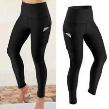 Pantalones Mujer Correr con Bolsillos Leggings Cintura Alta Mallas Deporte Yoga