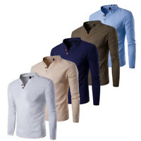 Mens Slim Fitted Long Sleeve Shirt T-shirt Linen Tee Shirt Casual Top Blouse