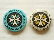More details for two (2) vintage tin badges order of st. john in northern ireland