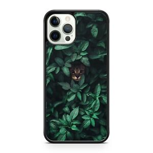 Majestic Cuddly Cat Kitten Animal Elegant Green Leaf Covered Phone Case Cover
