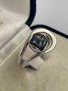 Vintage 925 Silver & Black Opal Stylised Buckle Dress Ring Size O 4.7 Gram
