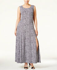 NWT Michael Michael Kors Plus Size Printed High-Slit Maxi Dress Sz 1X Abstrt Jag