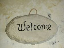 """Garden Ornament - Hand made - Black """"Welcome""""On Grey . Sign   New"""