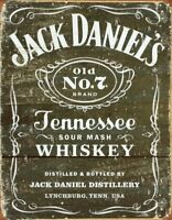 Jack Daniel's Black Logo Rustic Weathered Retro Tin Metal Sign 13 x 16in