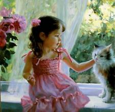 """CAT with Girl at Window ART on On 16"""" Fabric Panel to Sew .Actual pic is 8""""x8""""."""