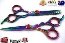 "Professional Salon Shear Hair Cutting Scissor Set, Titanium Multi Color 6.5"""