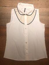 B. Jewel Sleeveless Blouse Peter Pan Collar Size Medium Navy Cream Lace