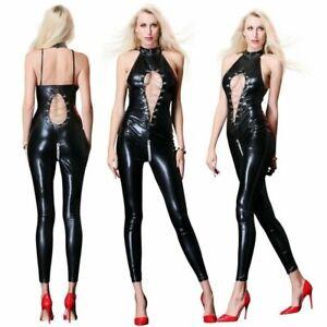 Women shiny PU leather zipper cross crotch catsuit Wet Look Bar Jumpsuit Costume