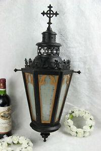 Religious gothic church Lantern light  metal black cross Glass Candle holder
