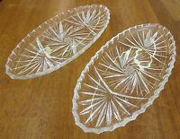 "Vintage Lead Crystal Pinwheel Star 11"" x 5"" Relish Oval Serving Dish Pair"