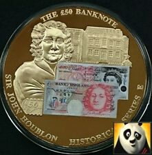 LARGE 50mm £50 FIFTY POUND BRITISH BANKNOTE STICKER MEDAL COIN JOHN HOUBLON