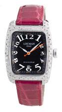 1ct Locman Ladies Black Dial Red Leather Strap Diamond Watch 488
