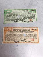 2 Vintage Original NIAGARA FALLS HOTEL BOND Coupons 1930s-40s Ephemera Paper