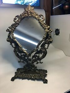 VINTAGE CAST IRON CELESTIAL NORTHWIND FACE TABLE MIRROR