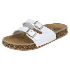 Sandalias y chanclas de mujer planos de color principal blanco, talla 37