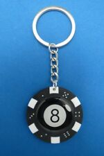 LUCKY EIGHT - 8 BALL POKER CHIP DICE KEYRING KEY RING CHAIN #211