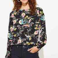Loft Blouse Womens Size Small Black Floral Paisley Print Long Sleeve Shirt Top