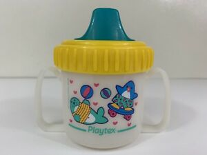 Vintage Playtex Sippy Cup 1997 Decorated 2 Handles Boy Girl 1990s Exc Condition