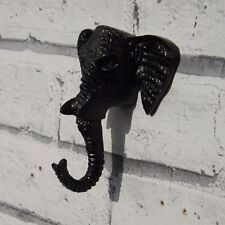 Elephant Head Cast iron hall Coat hook Dark Brown..BOHO Chic