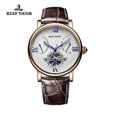 Reef Tiger Mens Tourbillon Watch with Date Day Rose Gold White Dial Leather