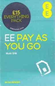 UK EE Pay As You Go Nano/Micro/Standard Offiical £15 Data SIM Pack