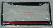 Metal License Plate Frame Thin Red Line License