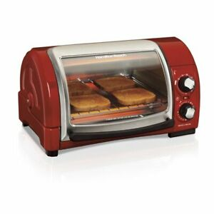 Hamilton Beach Easy Reach Toaster Oven With Roll Top Door Home Good - Red