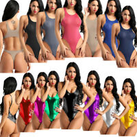 Sexy Womens Lady Metallic Sleeveless Bodycon Bodysuit Top Thong Leotard Jumpsuit
