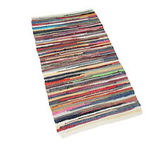 HANDMADE MULTI COLORED STRIPPED RUG RECYCLED COTTON CHINDI FLOOR RUGS 70 X 140CM