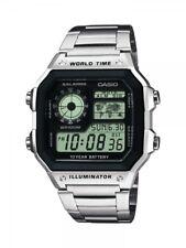Casio Herrenuhr Uhr Stopp Alarm Licht Edelstahlband 10 BAR AE-1200WHD-1AVEF