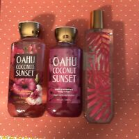 Bath Body Works OAHU COCONUT SUNSET Fragrance Mist, Shower Gel, Lotion 3 pc Set