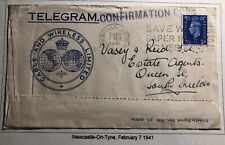 1941 Newcastle England Imperial Cable & Wireless Telegram Advertising Cover