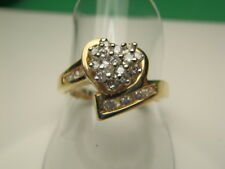 14K Solid Yellow Gold .50 Ct Tw Diamond Heart Ring 4.0 Gram Size 7 Lot 1633