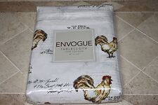 ENVOGUE ROOSTER WITH SCRIPT TABLECLOTH - YELLOW/RED/BLACK/WHITE - 60x102 - NEW