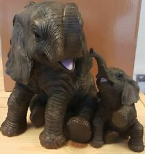 More details for extra large mother elephant and baby calf ornament leonardo collection