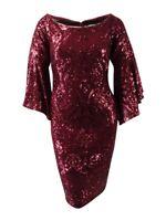 Betsy & Adam Women's Sequined Bell-Sleeve Dress