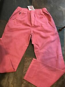 NEW CRAZY SHIRTS Med CRANBERRY Dyed Twill Drawstring Waist Cotton Pockets Men's